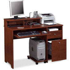 Legend Computer Desk with Keyboard Shelf and CPU Platform - Tuscany Brown