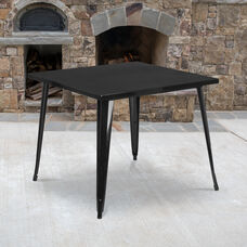 "Commercial Grade 35.5"" Square Black Metal Indoor-Outdoor Table"