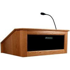 Solid Hardwood Victoria Wired 150 Watt Sound Tabletop Lectern - Cherry Finish - 27