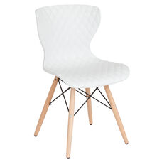 Bedford Contemporary Design White Plastic Chair with Wooden Legs