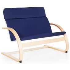 Nordic Couch with Removable Cushion and Steam-Bent Plywood Construction - Blue - 36