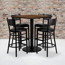 36'' Square Walnut Laminate Table Set with Grid Back Metal Barstool and Black Vinyl Seat, Seats 4