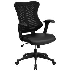 High Back Designer Black Mesh Executive Swivel Ergonomic Office Chair with Leather Seat and Adjustable Arms