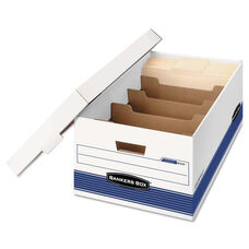 Bankers Box® STOR/FILE Extra Strength Storage Box - Legal - Locking Lid - White/Blue - 12/Carton
