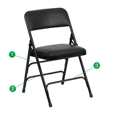 HERCULES Series Curved Triple Braced & Double Hinged Black Vinyl Metal Folding Chair