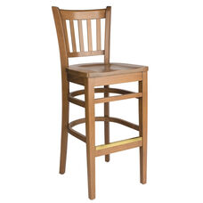 Grill Vertical Back Wood Bar Stool - Wood Seat