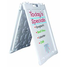 Universal Sidewalk A-Frame Sign Holder with Deluxe White Markerboard - White - 27
