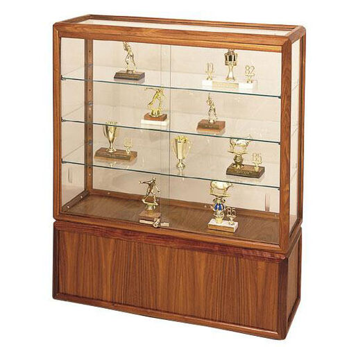 Our 742 Series Freestanding Hardwood Frame Display Case with Tempered Glass Sliding Doors - 36