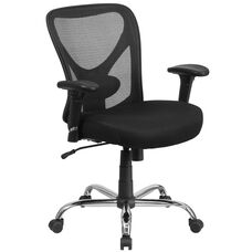 HERCULES Series Big & Tall 400 lb. Rated Black Mesh Swivel Ergonomic Task Office Chair with Height Adjustable Back and Arms