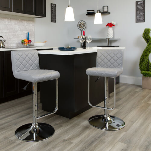 Contemporary Gray Vinyl Adjustable Height Barstool with Drop Frame and Chrome Base
