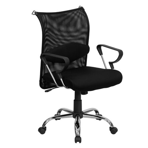 Our Mid-Back Black Mesh Swivel Manager