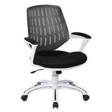 Ave Six Calvin Mesh Office Chair with White Frame and Fabric Padded Seat and Arms - Black
