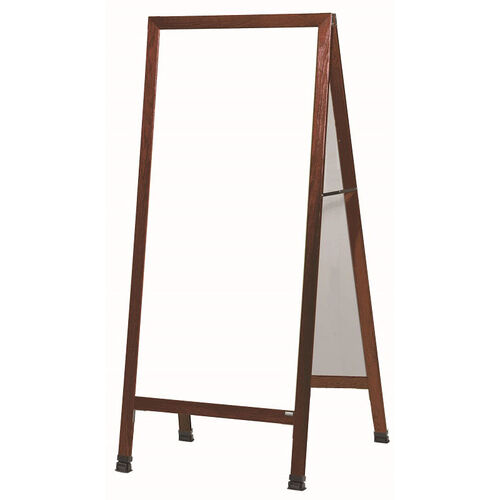 Extra Large A-Frame Sidewalk Board with White Melamine Marker Board and Cherry Stain Finished Solid Red Oak Frame - 30
