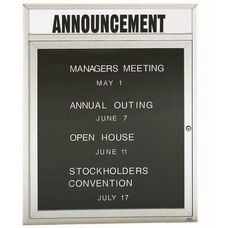 1 Door Outdoor Illuminated Enclosed Directory Board with Header and Aluminum Frame - 36