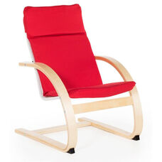 Kiddie Rocker with Removable Cushion and Steam-Bent Plywood Construction - Red - 16