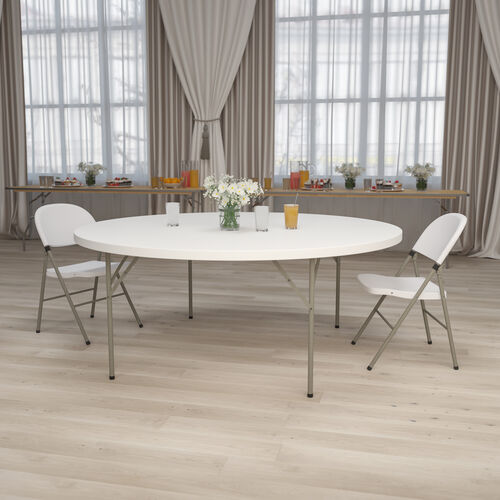 6-Foot Round Granite White Plastic Folding Table