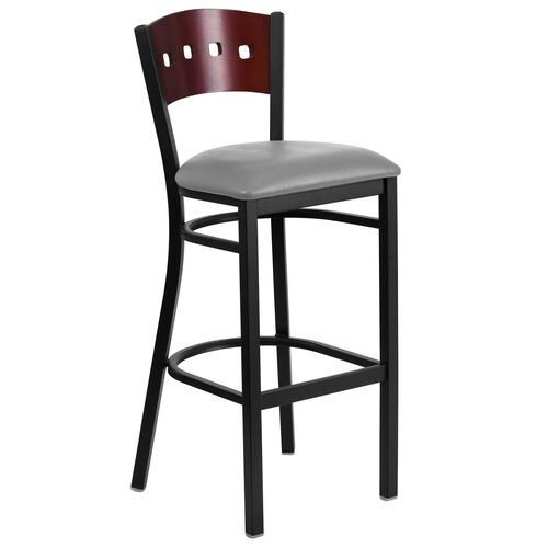 Our Black Decorative 4 Square Back Metal Restaurant Barstool with Mahogany Wood Back & Custom Upholstered Seat is on sale now.