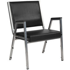 HERCULES Series 1500 lb. Rated Black Antimicrobial Vinyl Bariatric Arm Chair with Silver Vein Frame