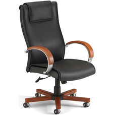 Apex Leather Executive High-Back Chair with Cherry Finish - Black