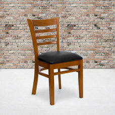 Cherry Finished Ladder Back Wooden Restaurant Chair with Black Vinyl Seat
