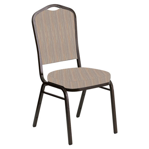 Our Embroidered Crown Back Banquet Chair in Mystery Fossil Fabric - Gold Vein Frame is on sale now.