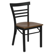 HERCULES Series Black Three-Slat Ladder Back Metal Restaurant Chair - Cherry Wood Seat