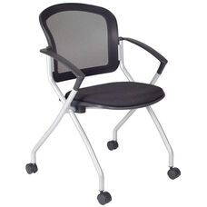 Cadence Mesh Back Nesting Chair with Casters - Set of 4 - Black Fabric