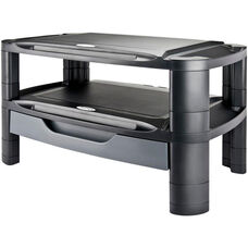Extra Wide Professional Monitor or Printer Stand with Drawer - Black