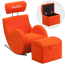 Personalized HERCULES Series Orange Fabric Rocking Chair with Storage Ottoman