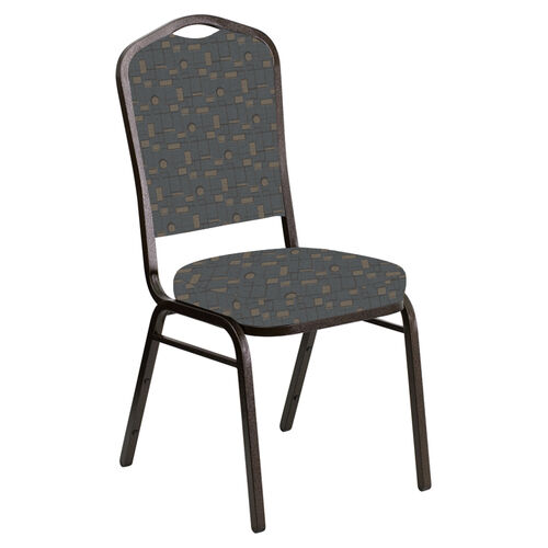 Our Embroidered Crown Back Banquet Chair in Circuit Teal Fabric - Gold Vein Frame is on sale now.