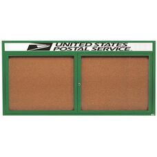 2 Door Indoor Illuminated Enclosed Bulletin Board with Header and Green Powder Coated Aluminum Frame - 36