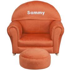 Personalized Kids Orange Microfiber Rocker Chair and Footrest