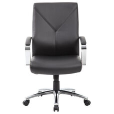 LeatherPLUS Executive Chair with Chrome Base and Casters - Black