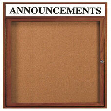 1 Door Enclosed Bulletin Board with Header and Walnut Finish - 36