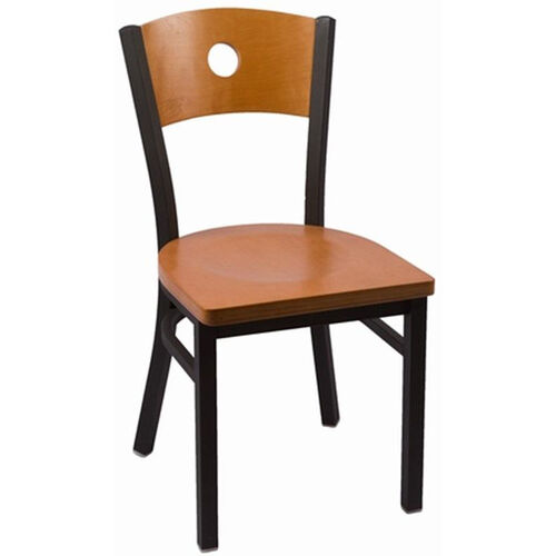 Our Circle Series Wood Back Armless Chair with Steel Frame and Wood Seat - Cherry is on sale now.