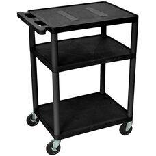 Endura 3 Shelf Mobile A/V Cart - Black - 24