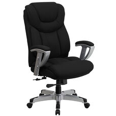 HERCULES Series Big & Tall 400 lb. Rated Black Fabric Executive Swivel Chair with Silver Finished Adjustable Arms