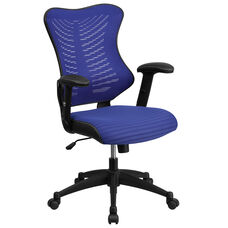 High Back Designer Blue Mesh Executive Swivel Chair with Adjustable Arms