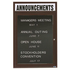 1 Door Indoor Enclosed Directory Board with Header and Bronze Anodized Aluminum Frame - 36