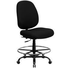 HERCULES Series Big & Tall 400 lb. Rated Black Fabric Ergonomic Drafting Chair with Adjustable Back Height