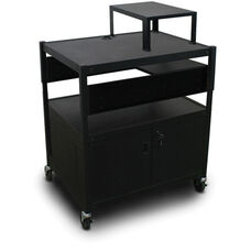 Spartan Series Adjustable Media Projector Cart and Cabinet with One Pull-Out Side-Shelf and Expansion Shelf - Black
