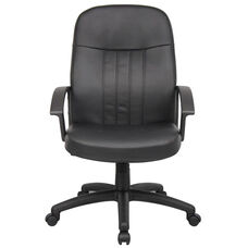 Budget Executive LeatherPlus Chair with Arms - Black