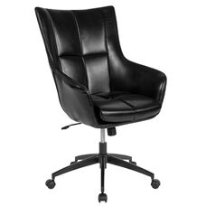 Barcelona Home and Office Upholstered High Back Chair in Black LeatherSoft