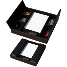 Classic Leather Enhanced Conference Room Organizer - Black