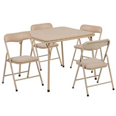 Kids Tan 5 Piece Folding Table and Chair Set