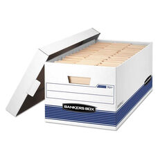 Bankers Box® STOR/FILE Storage Box - Letter - Locking Lid - White/Blue - 4/Carton