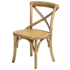 Rustic Sonoma Solid Wood Cross Back Stackable Children's Chair - Set of 4 - Tinted Raw