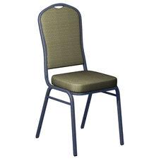 Embroidered Biltmore Olivette Fabric Upholstered Crown Back Banquet Chair - Silver Vein Frame