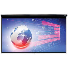 White and Black Wall Mountable Pull-Down Projection Screen with Matte White Fabric Screen and Black Aluminum Housing - 131