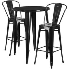 30'' Round Metal Indoor-Outdoor Bar Table Set with 2 Cafe Stools